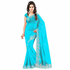 Indian Party Wear Designer Blue Faux Chiffon Embroidered Saree With Blouse