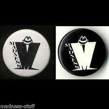 MADNESS - PAIR OF OFFICIAL MADNESS LOGO BADGES FROM 1980s - SUGGS SKA TWO 2 TONE