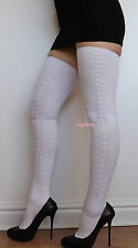Extra Long Thigh High Over The Knee Socks OTK White Cable Knit Boot Crotch Hi