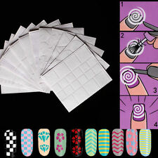 12 PCS Sexy DIY French Manicure Nail Art Form Fringe Guides Sticker Stencil Tool