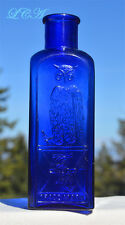 Nice old OWL DRUG Co Cobalt BLUE salts bottle RARE SQUARE w/ Sarah bird