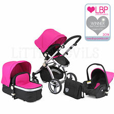 AWARD WINNING BLACK& PINK CARRERA 3IN1 TRAVEL SYSTEM/PUSHCHAIR & ISOFIX CAR SEAT