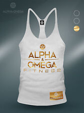 AAO Fitness White/ Gold V3 Ltd Bodybuilding Gym Muscle Vest - Gasp/ Zyzz/ Shark
