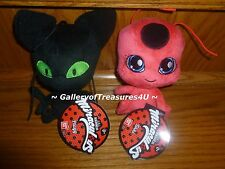 "Miraculous TIKKI & PLAGG Plush 6 Inch Zag Heroez 6"" Red Ladybug Black Cat Doll"