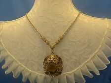 Vtg Pendant Necklace faux Amber,Pearl,Crystals,faux Agate stone,Filigree, GT