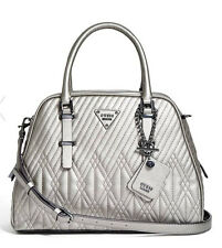 NWT GUESS Eddie Luxe Dome Satchel Handbag Purse Quilted Metallic Pewter