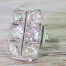 ART DECO 3.00ct OLD CUT DIAMOND PLAQUE COCKTAIL RING - 18k White Gold - c 1930