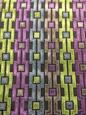 Brown Green Purple CUT VELVET FABRIC HOME DECOR Upholstery Geometric Stripe .6 Y