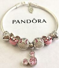 Authentic Pandora Sterling Silver Charm Bracelet With Love Pink European Charms