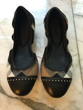 Authentic Burberry Flat Ballet Shoe 37 BN New Bridle House Check Southwark Studs