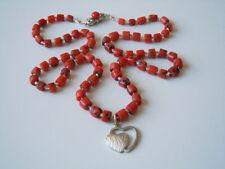 Rote Zylinder Natur Korallen Kette 925 Verschluß & Herz Anhänger 20,7 g / 53 cm