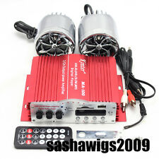 PRO 2 Channels Red Car Motorcycle Speakers Stereo Amplifier USB SD DVD CD FM MP3