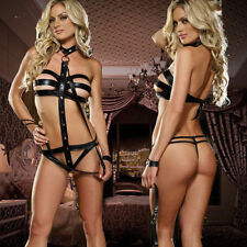 Sexy Lingerie - Women Bondage Sex Slave Fetish Outfit - BLACK - Stocking Stuffer