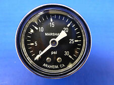 "Marshall Gauge 0-30 psi Fuel Pressure Oil Pressure Gauge Black 1.5"" Diameter"