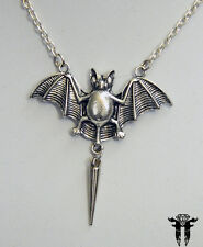 Gothic Bat with Spike Dangle Pendant Necklace Halloween Lily Munster