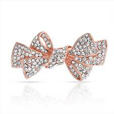 Mothers Day Jewelry Small Rose Gold Plated Bridal Ribbon Bow Brooch Pin Crystal