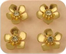 2 Hole Beads Flowers w/ Clear Swarovski Crystal Element Crown Centers GOLD QTY 4