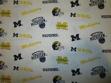 UNIVERSITY OF MICHIGAN U of M WOLVERINES LICENSED COTTON FABRIC BTHY