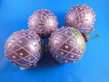 "Gorgeous 3 1/2"" PINK  GLASS CHRISTMAS ORNAMENTS W white beads sparkle & gold NEW"