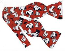 (1) BOW TIE - MUSTACHED SNOOPY - SNOOPY ON RED WEARING DIFFERENT MUSTACHES
