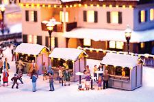 NOCH HO SCALE 1/87 CHRISTMAS MARKET STALL (3) SET MODEL KIT | BN | 66412
