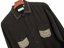 NWT Mens Silk Camp Shirt Western Two Pocket Rockabilly Vintage 50s Brown Large L