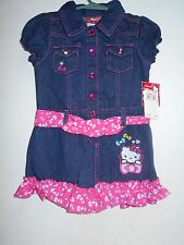 Denim Hello Kitty Dress NEW W/TAGS Pink Polka Dot Sash/Belt SIZE 3T Girl's