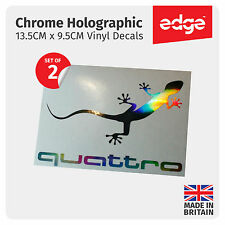 2X Audi Quattro Gecko CHROME HOLOGRAM Vinyl Car Decals Stickers Quattro