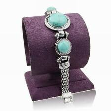 Round Genuine Turquoise Statement Link Chain Wristband Bangle Stunning Bracelet