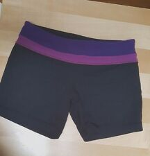 Lululemon shorts black size 4 groove roll down with puple waist cute shorts