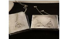 USA-2pc Harry Potter Silver Deathly Hallows Necklace & earrings,