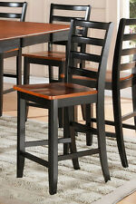 Set of 2 Fairwinds counter height bar stool chairs plain wood seat cherry black