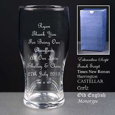 Personalised Tulip Pint Glass,Wedding Favour,Thank You For Being Our Chauffeur