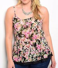 Size 3X TANK TOP SHIRT Womens Plus BLACK FLORAL Spaghetti Straps LIBIAN New