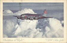 Linen Airplane PC- TWA Color Photo- Stratoliner In Flight- Boeing 307- PM 1942