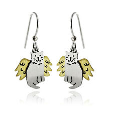 Angel Cat Earrings - 925 Sterling Silver Ear Wires - Cats Memorial Pet Kitty NEW