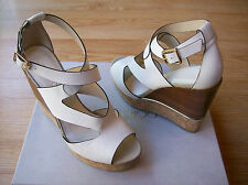 $625 Jimmy Choo Nate Sandals Latte Mix Vachetta Wedge Platform 39 US 9 NIB
