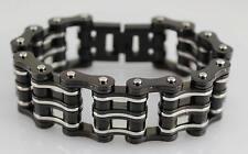 """8.5"""" Black Silver 1"""" Wide Men's Bike Chain Bracelet Motorcycle Gear USA Seller"""