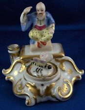 Antique Porcelain de Paris Figural Chinoiserie Inkwell Porcelaine French Figure