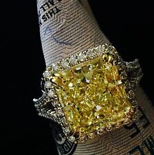 6.79 CARAT VS FANCY YELLOW RADIANT DIAMOND HALO ENGAGEMENT RING 18K WHITE GOLD