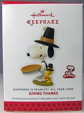 GIVING THANKS Snoopy 2014 Hallmark Christmas Holiday Ornament NIB Peanuts