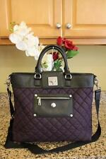KNOMO Women's Purple and Black Quilted Organizer Tote Satchel Bag (PU160