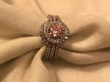 THREE PIECE RING SET SIZE 8 WITH ROUND PINK 2.0CT. TOPAZ/WHITE CZ'S IN SS925