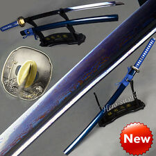 New Special Samurai Sword Blue Red Blade Folded Steel Tempered Katana Full Tang