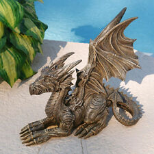 UNIQUE WINGED DRAGON ON GUARD YARD LAWN GARDEN SCULPTURE HOME DECOR NEW