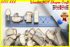 50 Wooden Wine Beer Glass Coffee Pint shapes Craft Scrapbooking MDF Wood gift