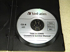TEAC A-3340S  REEL TO  REEL OWNERS & SERVICE MANUAL ON A CD FREE S/H