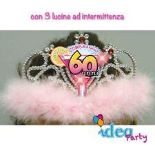CORONA DIADEMA 60 ANNI con LED - Gadget idea regalo festa 60° Compleanno donna