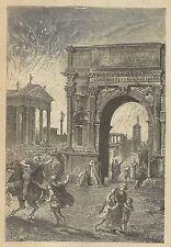 A3527 Incendio di Roma - Animata - Incisione - Stampa Antica del 1891