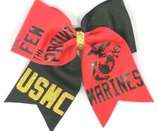 The Few The Proud Marines  USMC Cheer Hair bow             Can customize!.